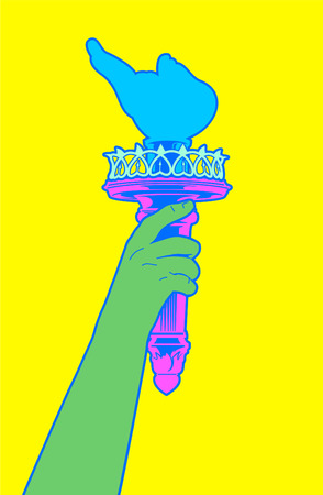 Statue of liberty Hand holding her torch with pop colors. Vector