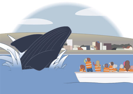 endangered species: Whale junping at puerto madryn patagonia