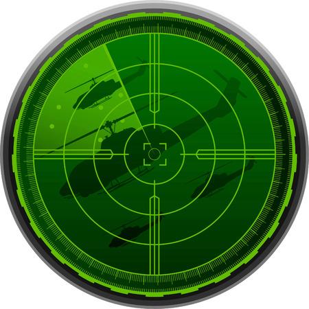 Helicopter Radar Screen vector illustration.