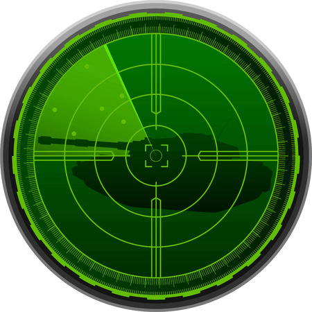 cartographer: Radar Screen Combat Tank vector illustration.