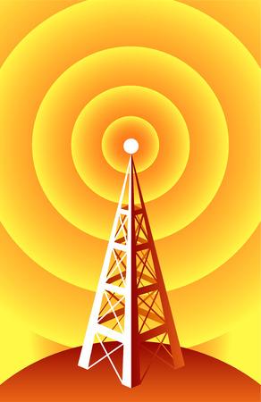 Draadloze technologie radiotoren. Stock Illustratie