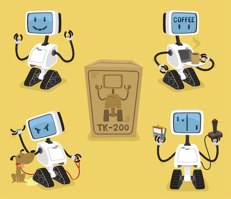 Robot Set met happy koffie boos spelen robots vector illustratie.