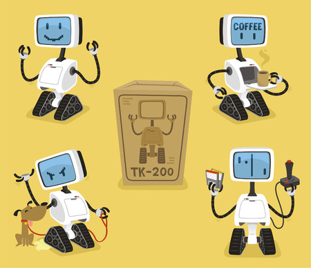 Robot Set with happy coffee angry playing robots vector illustration.