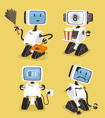 Robot Set with happy cleanin popcorn charging sad robots vector illustration. Vector