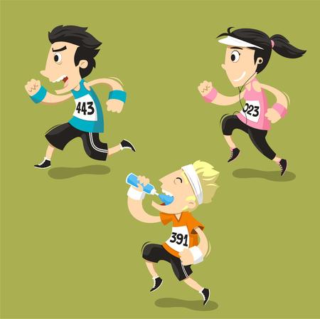 Corredores que se ejecutan Runner Entrenamiento Jogging, ilustración vectorial de dibujos animados. Ilustración de vector