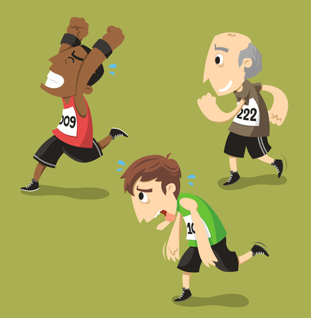 Runners Running Runner Training Jogging, vector illustration cartoon.