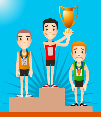 race winner: A view of the podium after a race, with each runner in its place. Winner holding cup standing on first place vector illustration. Illustration