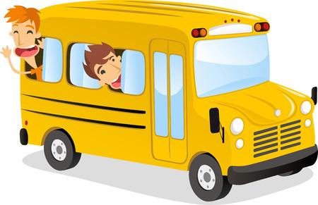transporte escolar: ni�os peque�os que juegan alrededor en el autob�s escolar.