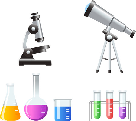 Science Icons Test Tubes Microscope telescope vector illustration cartoon. Illustration