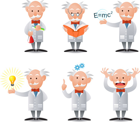 cartoon Scientist character in six poses.
