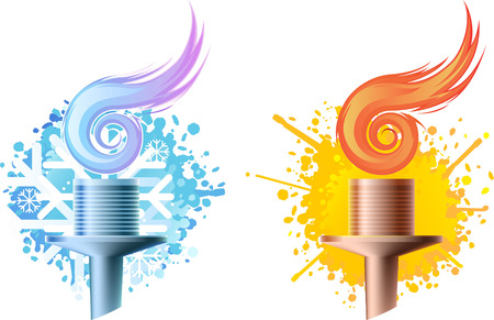digitally generated image: Seasons sports competitions vector icons, featuring a realistic torch.