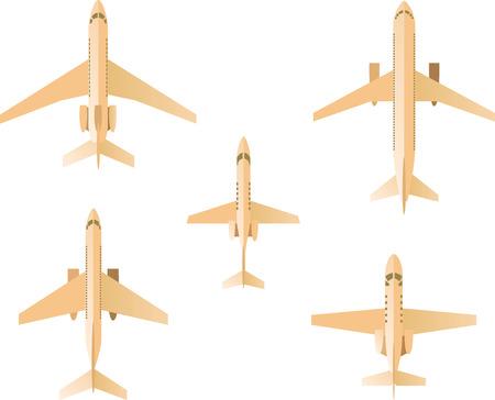 boeing 747: Aeroplano Set, con cinque aeroplani diversi illustrazione vettoriale. Vettoriali