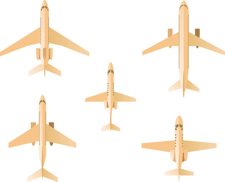 passanger: Airplane Set, with five different airplanes vector illustration.