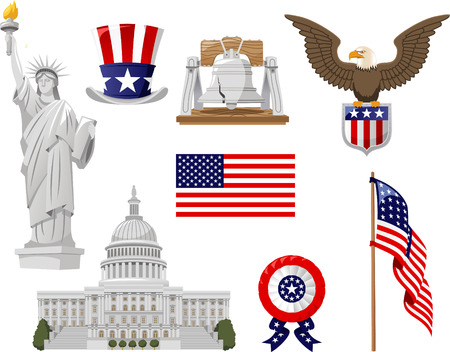 american culture: American Culture vector illustration icons, such as top hat, bell, liberty statue, flagged country, flag, white house collection set.