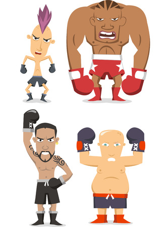 combative: Boxer cartoon illustrations