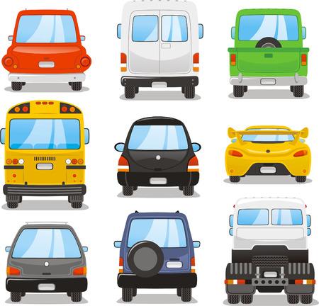 car rear illustrations Vector