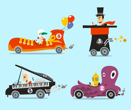 Crazy cars vector illustration cartoon set, with four different strange cars like, snicker car, top hat cat, piano car and octopus car.