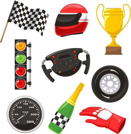 race car icons  Stock Illustratie