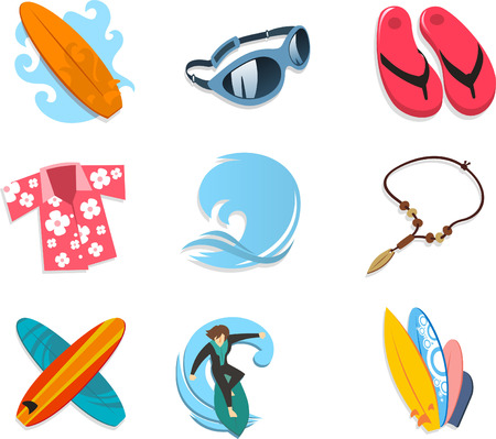 hawaiian culture: Surfer icon set, with surf board, sunglasses, flip flop, Hawaiian shirt, ocean, wave, ocean wave, necklace, boards, surfer, surfing. Vector illustration cartoon.