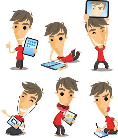holding smart phone: Boy with tablet cartoon action set.