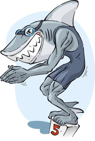 teenagers only: Shark swimmer illustration