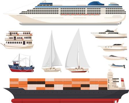 convoy: Dieci diverse navi e barche in diverse forme e dimensioni, come un vaso, corteccia, yacht, Steamboat, mestiere, moto d'acqua, scialuppa di salvataggio, motoscafo, catamarano, gondola, traghetto, barca, nave da crociera, barca a remi, barca a remi, a motore, scialuppa, barca sul canale illus