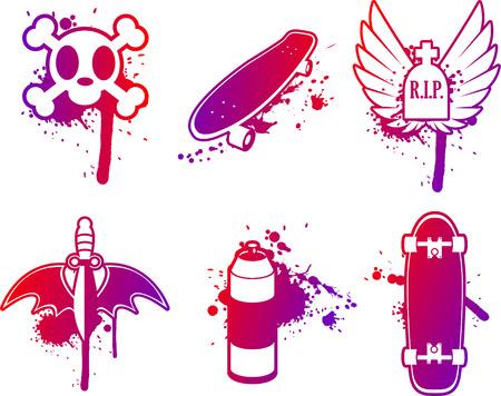 Skateboarding grunge design vector icons Stock Illustratie