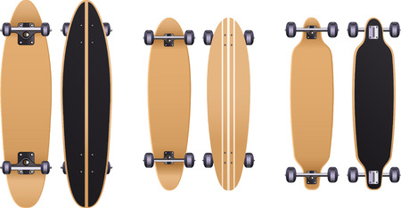 aerials: Old school Skateboard skate set, with cruiser board, longboard, trucks, urethane wheels, bolts, grip tape, skateboard deck, maple deck, maple deck board. Vector illustration.
