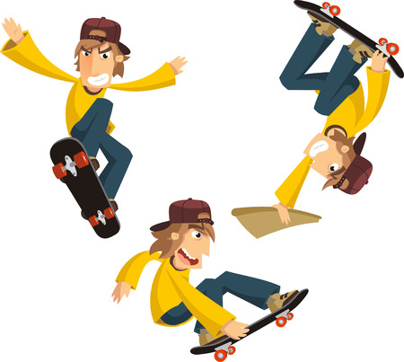 young man skateboarding cartoon Ilustrace