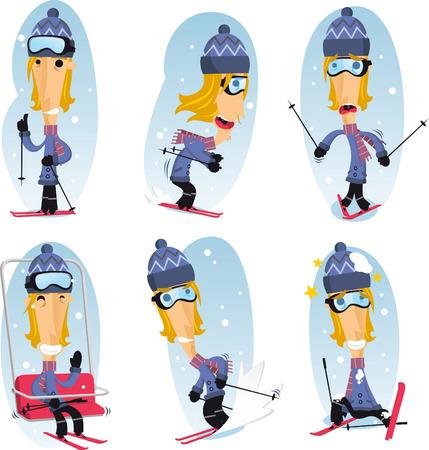 skier cartoon action set Vector