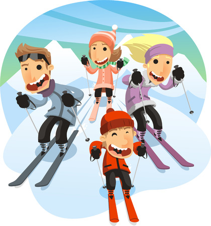 Family Skiing, with mother, father and sons. Vector illustration cartoon. Illustration