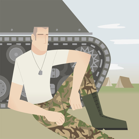 historic world event: Resting soldier with tank. Illustration