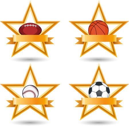 Sport balls in stars emblems illustrations Vettoriali