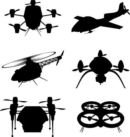 drones: Drone Mezzo di trasporto aereo Drones Tipi Impostare illustrazione vettoriale cartone animato Vettoriali