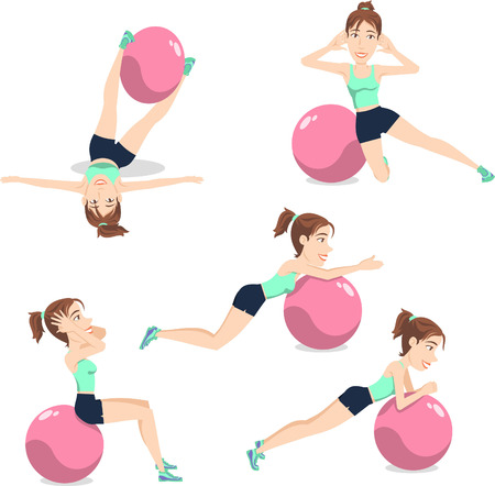 flexible woman: Stability Ball Exercise Weight Training Swiss Balance Fitness Gym, vector illustration cartoon.