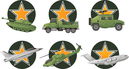 us air force: War Vehicles with star shape vector illustration.