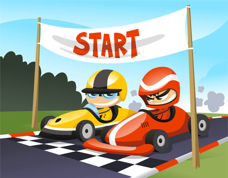 competitions: Cart racers at the start cartoon illustration
