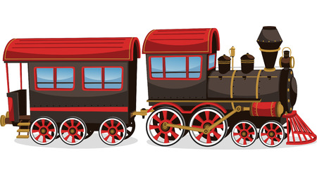 diesel train: Old steam train, red and brown vector illustration cartoon.