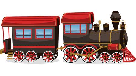 locomotora: Tren viejo del vapor, rojo y marrón ilustración vectorial de dibujos animados. Vectores