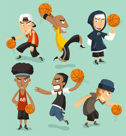 cancha de basquetbol: Calle jugadores de baloncesto ilustraci�n dibujos animados