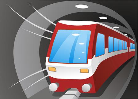 station: cartoon illustration of a subway train.
