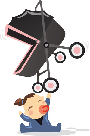one person only: Superhero baby happily holding a stroller with one hand, with super strength power. Also, with a black buggy and blue baby costume vector illustration.