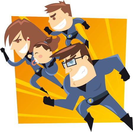 Superhero familie die aan de redding. Vier leden helden familie, met blauwe pakken vector illustratie.