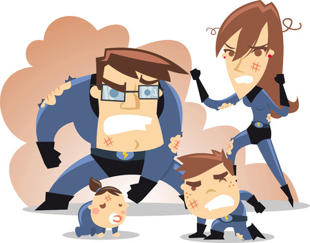 Superhero Family in trouble, seems this battle isn´t going very well. With all hit characters in their blue costumes and thunder belts. Mother hero standing, father hero with broken costume, baby hero on the floor and hero son complaining vector illustra