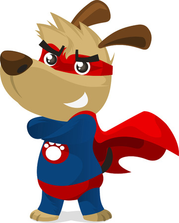 period costume: Superhero dog in super hero costume with pow powers smiling proudly vector illustration.