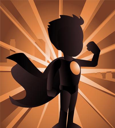 ni�o de pie: Superh�roe ni�o que muestra su fuerza, se puede utilizar por separado de su fondo. Con pie superh�roe vestido con su lectura h�roe traje, imagen de la ciudad con sus espaldas ilustraci�n vectorial luz de fondo, la sombra Vectores