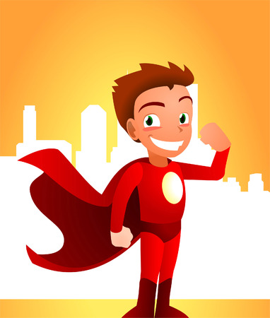 superboy: Superhero boy showing his strength, can be used separately from its background. With standing superhero wearing his read hero costume, with city image behind him vector illustration. Illustration