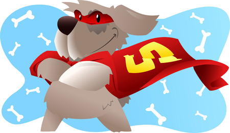 super dog: Superhero dog in super hero costume with pow powers smiling proudly vector illustration.