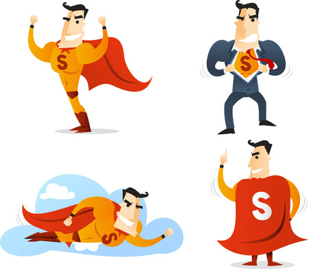 computer art: Superhero Character in four different poses and situations, showing off, back view, converting and flying vector illustration. With red cape, yellow suit and blue suit. Cute character cartoon.