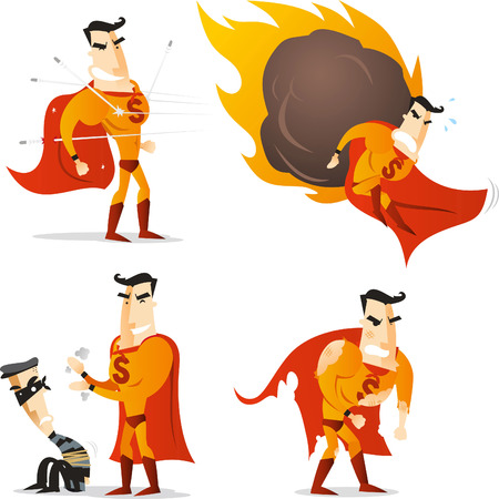 Superhero in four different poses and situations, hero stopping bullets, hero impeding criminal, hero stopping a meteorite with his body and tired superhero vector illustration. All with white backround, orange hero suit costume and orange cape. Vettoriali